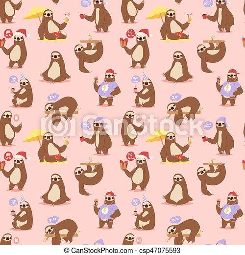 Pereza perezosa, carácter animal diferente postura vector de patrones sin costura - csp47075593