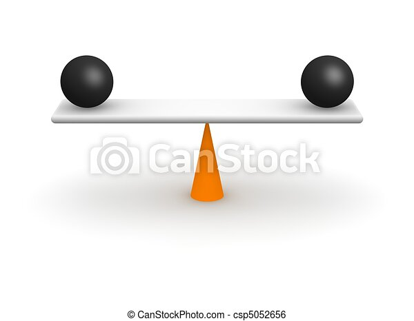 Perfect balance. 3d rendered illustration isolated on white. - csp5052656