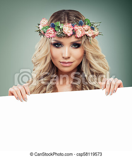 Perfect Blonde Woman Fashion Model With Blonde Curly Hair Holding White Paper Banner Background