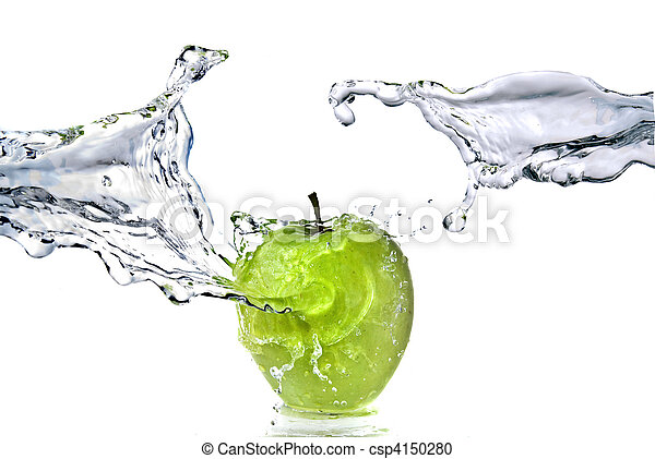 perfect fresh water splash on green apple isolated on white - csp4150280