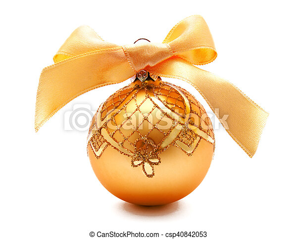 Perfect golden christmas ball with ribbon isolated - csp40842053