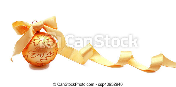 Perfect golden christmas ball with ribbon isolated - csp40952940