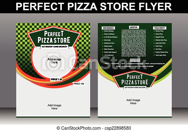 Perfect Pizza Store Flyer Template Vector Illustration