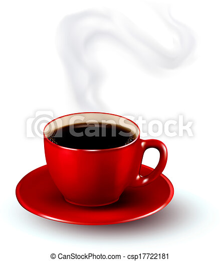 Perfect red cup of coffee with steam. Coffee design template. Vector illustration. - csp17722181