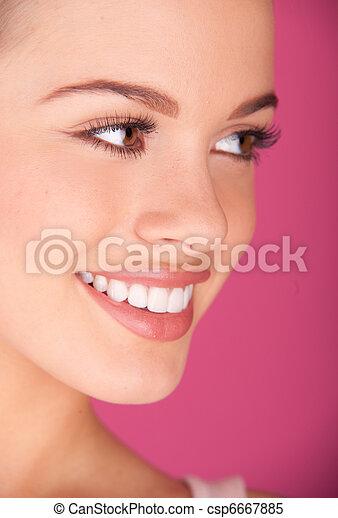 perfect teeth smiling - csp6667885