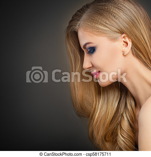dce71b336 Perfect Young Woman with Long Blonde Hair and Makeup. Fashion Portrait of  Beautiful Model Girl