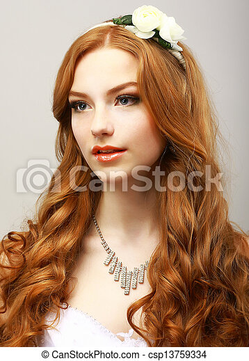Perfection. Happy Golden Hair Woman with Flower. Femininity & Sensuality - csp13759334