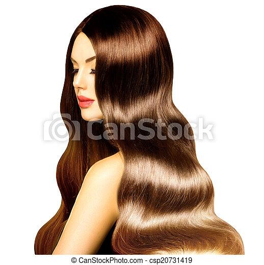 perfecto, belleza, sano, maquillaje, pelo largo, ondulado, modelo, niña - csp20731419
