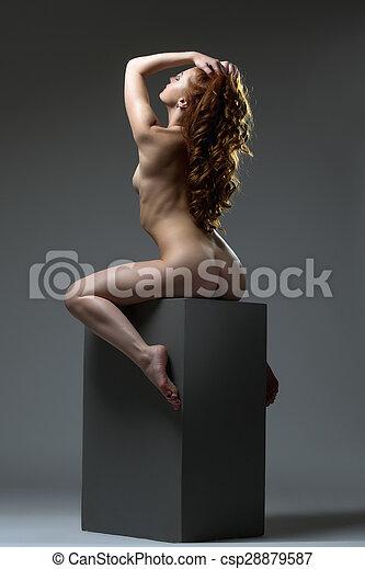 Perfecto Cuerpo Mujer Pelirrojo Desnudo Posar