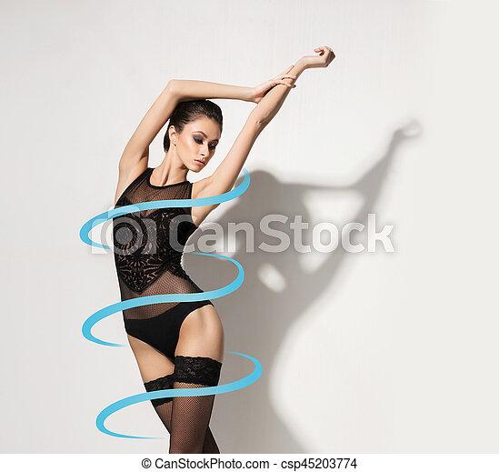 perfecto, cuerpo, mujer, underwear., ataque, sano, concept., pérdida, peso, hermoso, condición física, dieta, lingerie., medias, niña, deporte - csp45203774