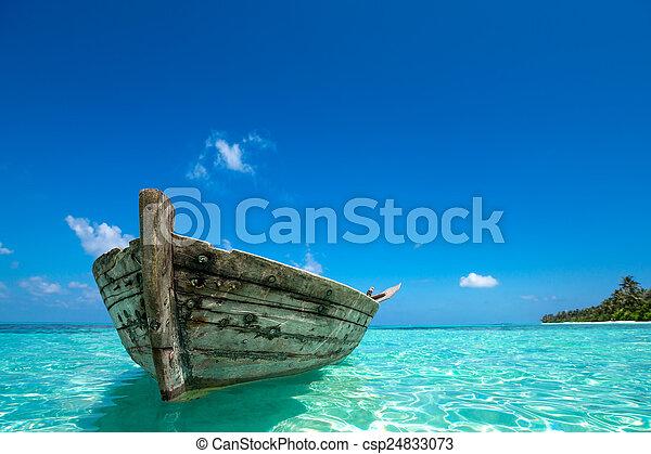 Perfecta isla tropical paraíso playa y viejo barco - csp24833073