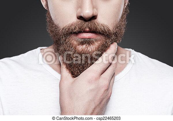 perfeitos, ficar, close-up, seu, beard., jovem, contra, cinzento, barbudo, enquanto, tocar, fundo, homem, barba - csp22465203
