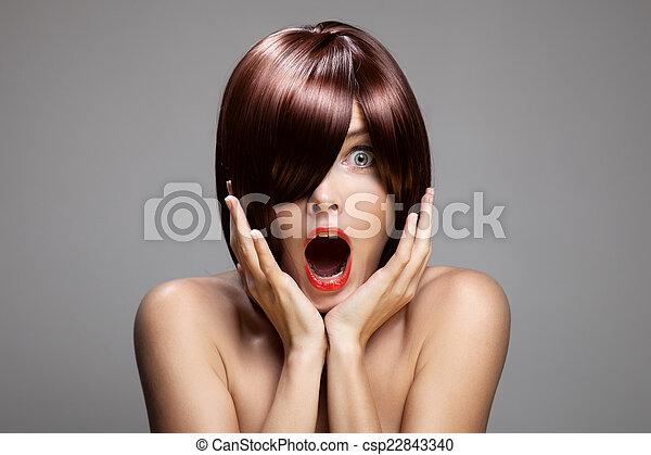 perfekt, brun, närbild, kvinna, länge, glatt, hair., potta, snopen - csp22843340