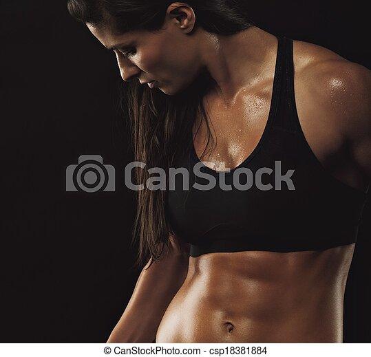 perfekt, koerper, frau, muskulös, fitness - csp18381884