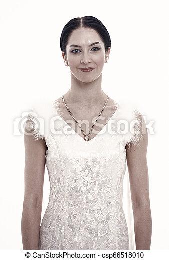 perfetto, donna, dress., bellezza, sposa, look., isolato, makeup., fascino, fondo., skin., moda, matrimonio, bianco, ragazza, sensuale - csp66518010