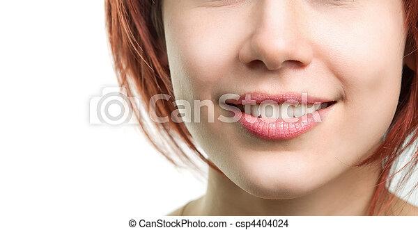 perfetto, fresco, labbra, donna, denti - csp4404024