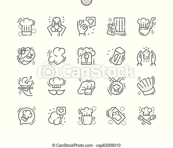 perfetto, web, vettore, chef, pictogram, icone, semplice, trenta, 2x, well-crafted, apps., griglia, magro, grafica, linea, cappello, pixel, minimo - csp63206010