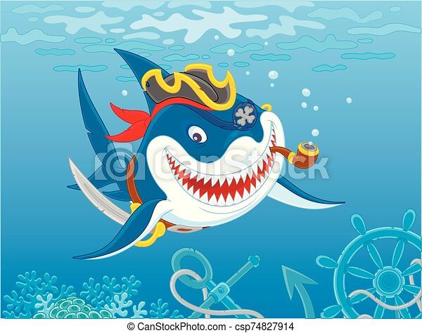 Perfidious Great white shark Pirate - csp74827914