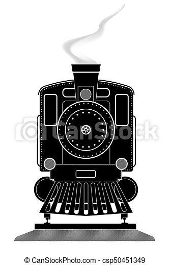 perfil, antigas, rails., pretas, vector., frente, branca, locomotiva, vista - csp50451349