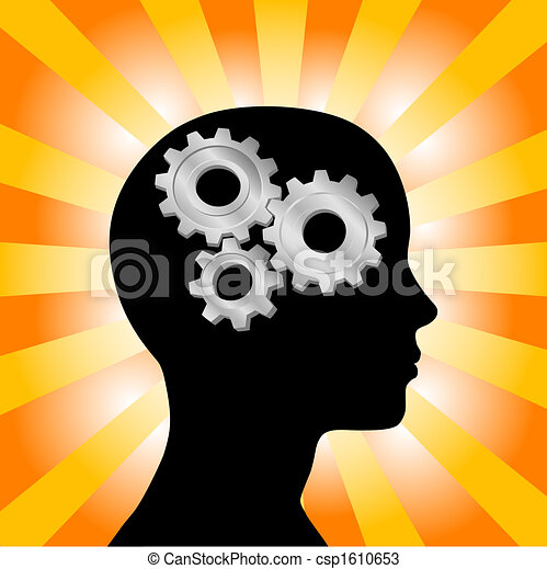 perfil, cabeça, mulher, engrenagem, pensando, amarela, raios, laranja - csp1610653