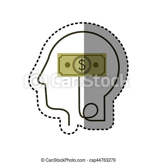 perfil, cabeça, silueta, adesivo, conta, dólar, human, símbolo - csp44763279
