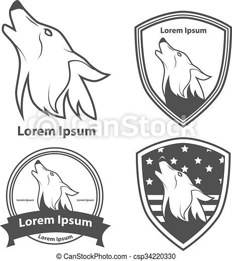 Perfil Cabeza Lobo Norteamericano Cabeza Elementos Ilustración