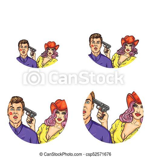 Una serie de vectores de arte pop alrededor de iconos avatar para usuarios de redes sociales, blogs, iconos de perfil. - csp52571676