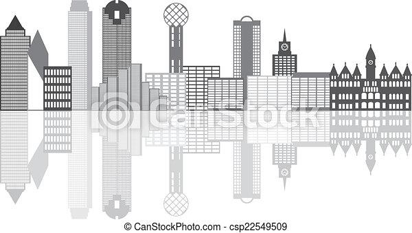 Dallas City Skyline Grayscale ilustración - csp22549509