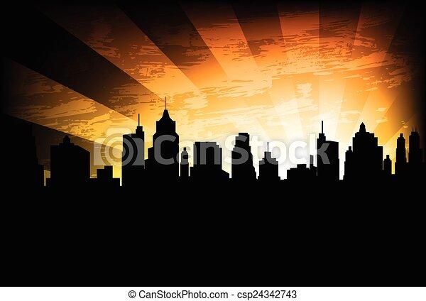 perfil de ciudad, plano de fondo - csp24342743