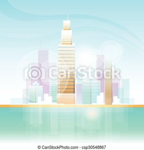El rascacielos de la ciudad ve el horizonte de fondo de las ciudades - csp30548867