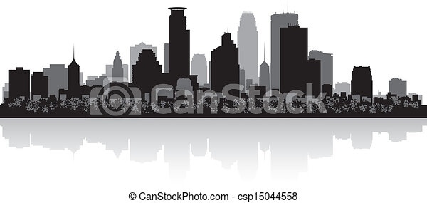 Ciudad Minneapolis Skyline Silhouette - csp15044558
