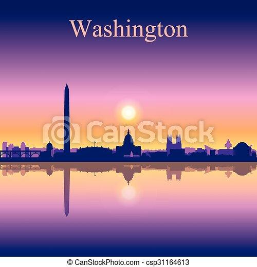 Washington City skyline silueta fondo - csp31164613