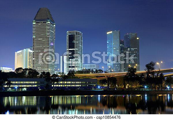 El horizonte de Singapur por la noche - csp10854476