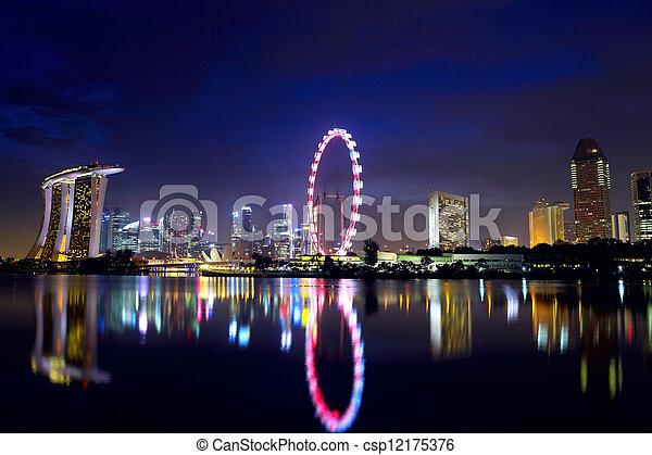 El horizonte de Singapur por la noche - csp12175376