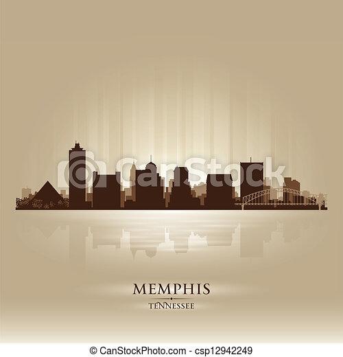 Memphis tennessee skyline ciudad silueta - csp12942249