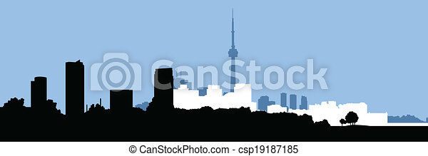 Silueta de horizonte de Toronto - csp19187185