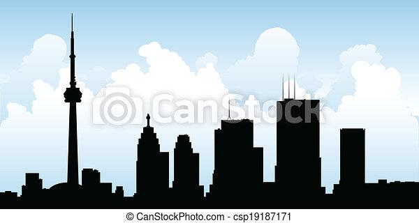 Silueta de horizonte de Toronto - csp19187171