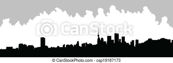 Silueta de horizonte de Toronto - csp19187173