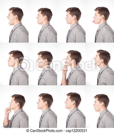 perfil, expressões, um, dúzia - csp12200531