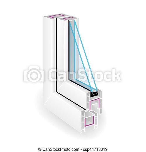 Ventana de perfil de plástico. Dos vidrios transparentes. Vistas locales. Ilustración de vectores - csp44713019