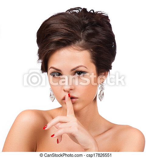 perfil, portrait., mujer, moda - csp17826551
