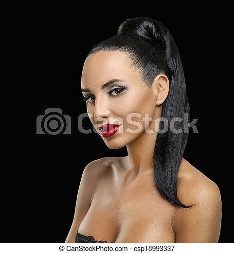 perfil, retrato, mujer, moda - csp18993337