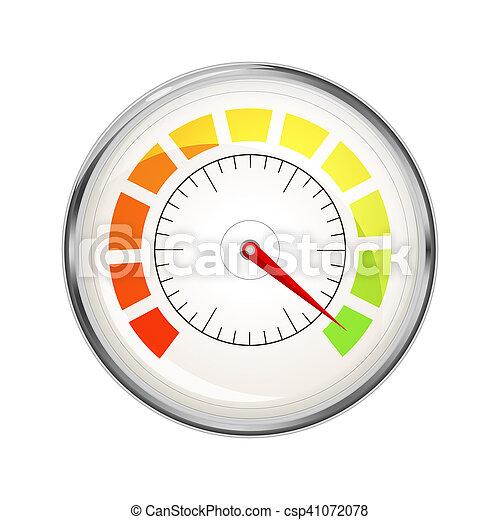 Performance measurement indicator, glossy metal speedometer icon on white - csp41072078