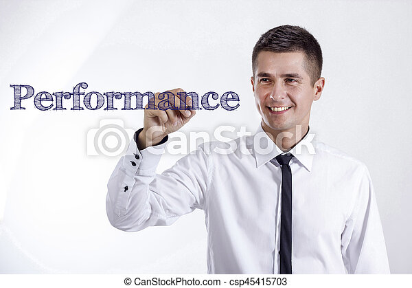Performance - Young smiling businessman writing on transparent surface - csp45415703