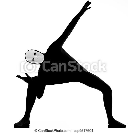 performer mime with mask stretching flexibility - csp9517604