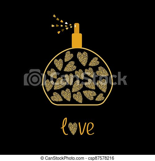 Perfume bottle with hearts inside. Gold sparkles glitter texture Black background Love - csp87578216