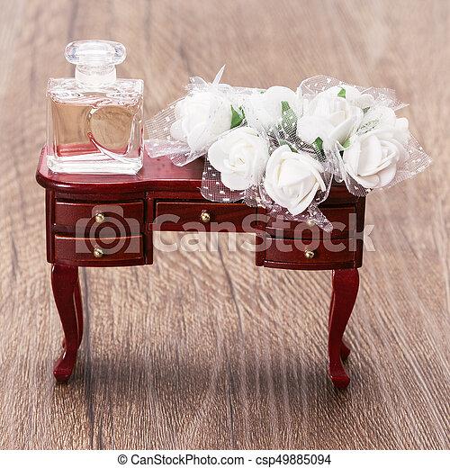 Perfume bottle with white flowers wedding fragrance in vintage style perfume bottle with white flowers csp49885094 mightylinksfo