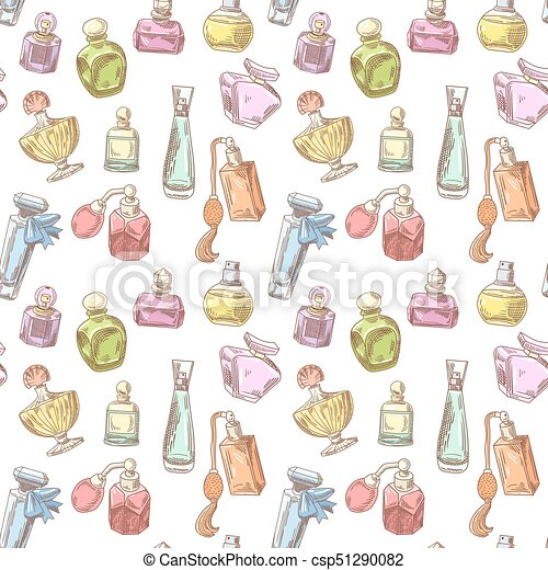 Perfume Bottles Hand Drawn Seamless Background French Aroma Pattern Woman Beauty Shop Design