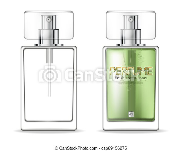 Perfume Bottles Template Vector Realistic Product Packaging