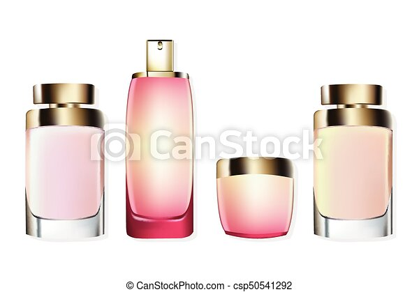 Perfume Cosmetics set Vector realistic mock up  Eau de toillete golden  bottle Perfect for advertising, flyer, banner, poster  3d illustration